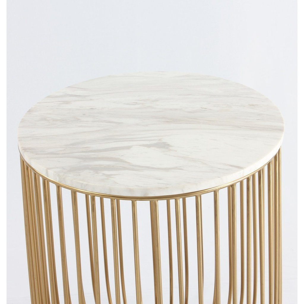 Beautiful Carrara Marble + Gold End Table – Tremont + Main FG67